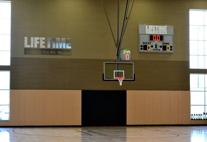 Full-sized indoor basketball court.