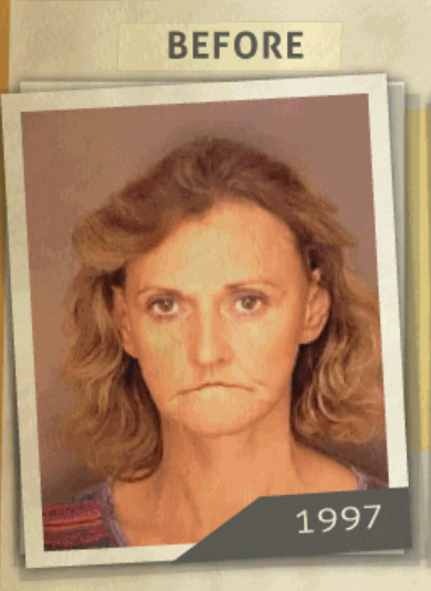 This 1997 photo was taken of a woman  who reportedly had a 'possession of Methamphetamine' charge. (Photo, info from rehabs.com/)