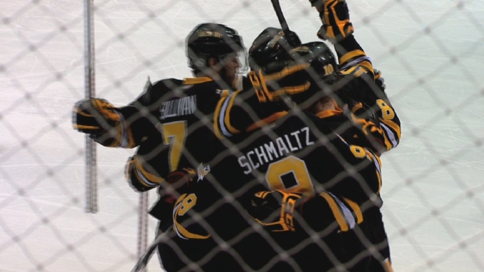 The Gamblers celebrate after a Nick Schmaltz goal.