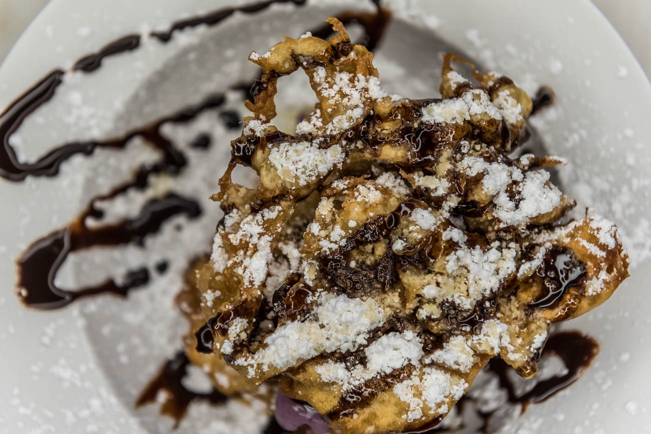 Double-layer funnel cake stuffed with Graeter's black raspberry ice cream / Image: Mike Menke // Published: 6.16.18