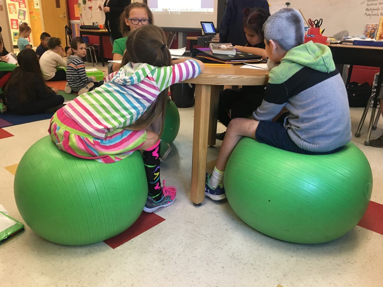 Karen Matejewski, a fourth grade teacher at Pritchardville Elementary School in Bluffton, uses flexible seating to enhance her students' learning environment. (Credit: Josie Gregory)