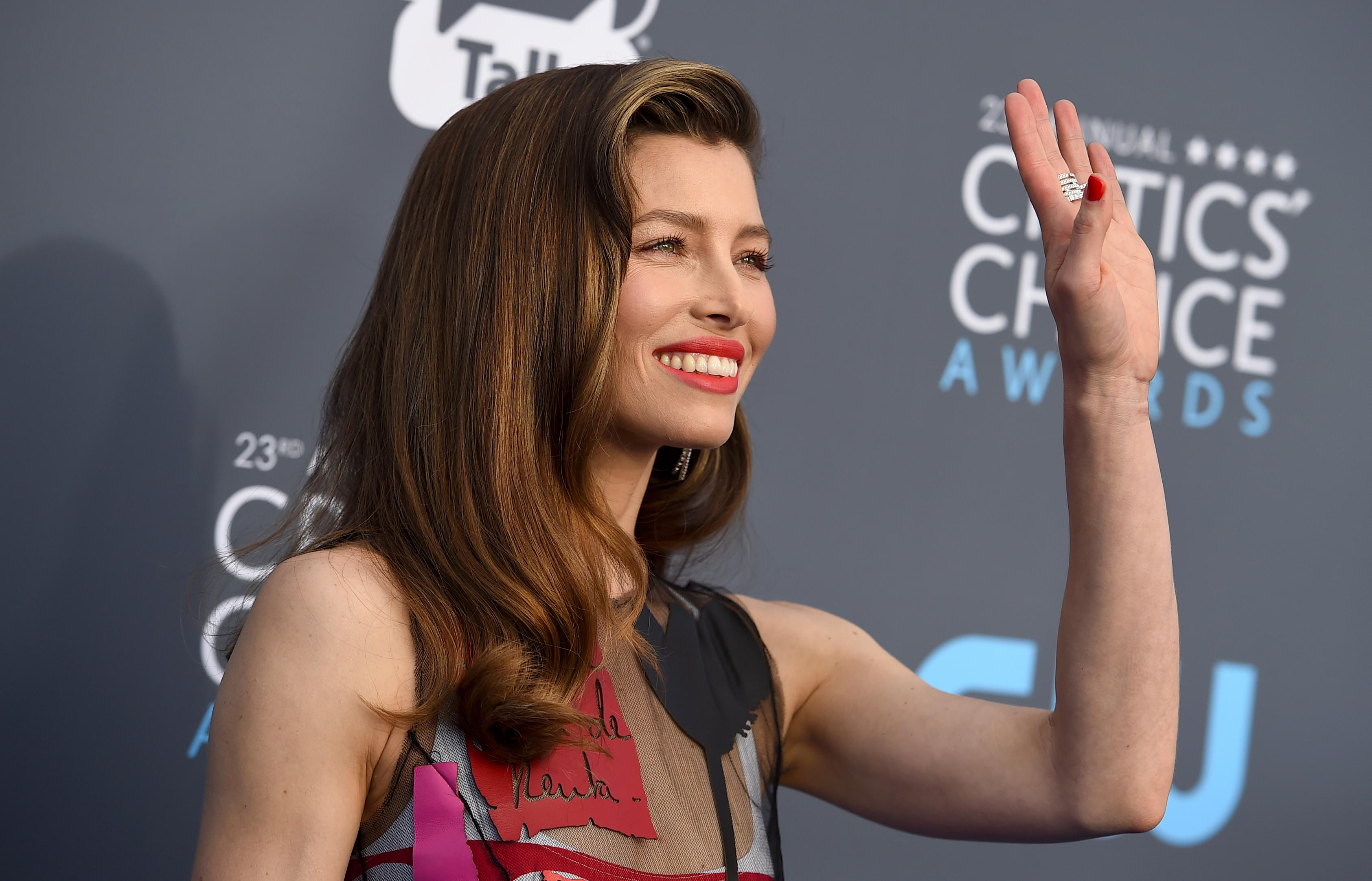 Jessica Biel arrives at the 23rd annual Critics' Choice Awards at the Barker Hangar on Thursday, Jan. 11, 2018, in Santa Monica, Calif. (Photo by Jordan Strauss/Invision/AP)
