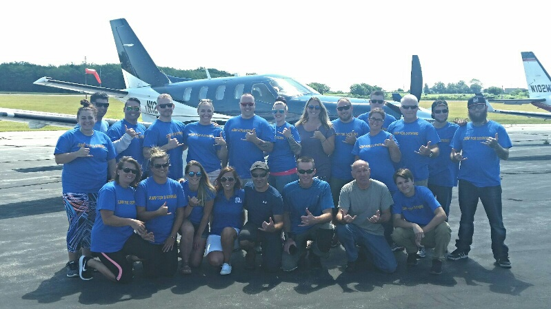 A total of 18 people participated in the Skydive for a Cause jump organized by Rep. Robert Nardolillo including NBC 10 I-Team reporter Patricia Resende. (WJAR)
