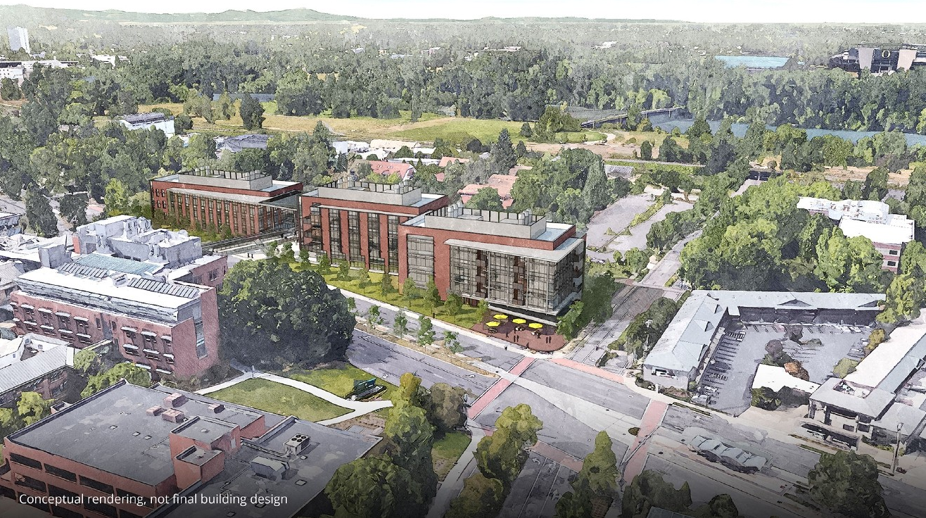 The vision: to create the Knight Campus for Accelerating Scientific Impact. The billion dollar initiative - the University is at work to raise the rest of the money - calls for three new, state-of-the-art science buildings on the north side of Frankliln Boulevard and a sky bridge connecting to the existing science complex. (Courtesy University of Oregon)