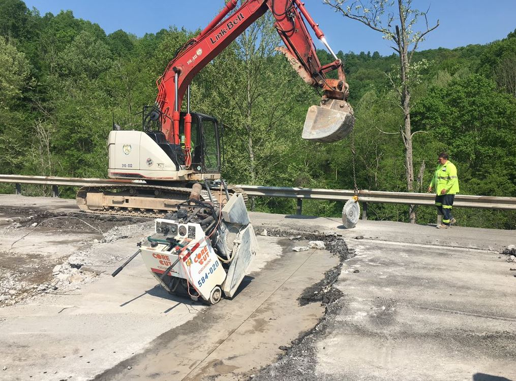 <p>The break in pavement is located at the 47.5 milemarker in Braxton County. The West Virginia Division of Highways has closed the southbound lanes while crews make repairs. (WCHS/WVAH)</p>