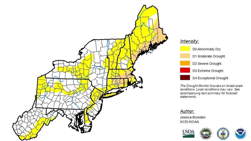 Parts of New England in 'moderate drought'