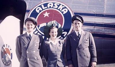 Alaska Airlines uniforms from the 1940s. Photo courtesy Alaska Airlines