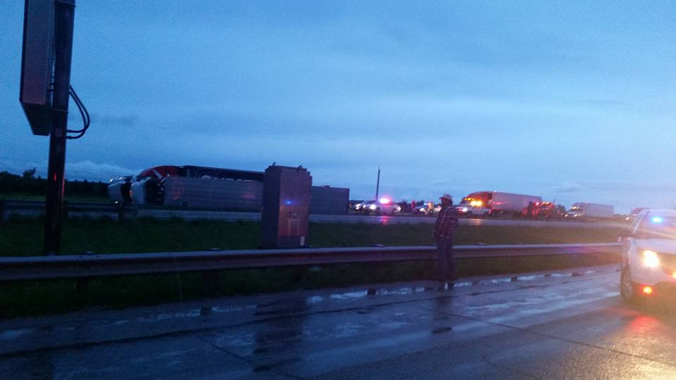 Interstate 70 at the 177 mile marker was shut down after a semi tipped. (Montgomery County Sheriff's Office)