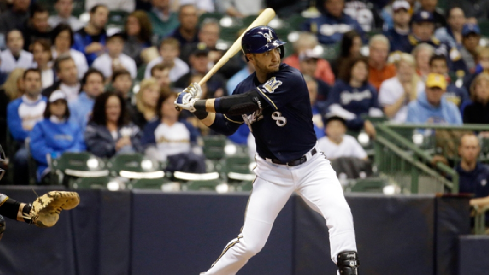 Milwaukee Brewers' Ryan Braun hits during the first inning of a baseball game against the Pittsburgh Pirates Wednesday, May 14, 2014, in Milwaukee. (AP Photo/Morry Gash)