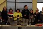 The Howard-Suamico School District Gifted and Talented Team celebrate their Golden Apple Awards with FOX 11's Tom Milbourn and program sponsors March 8, 2017.