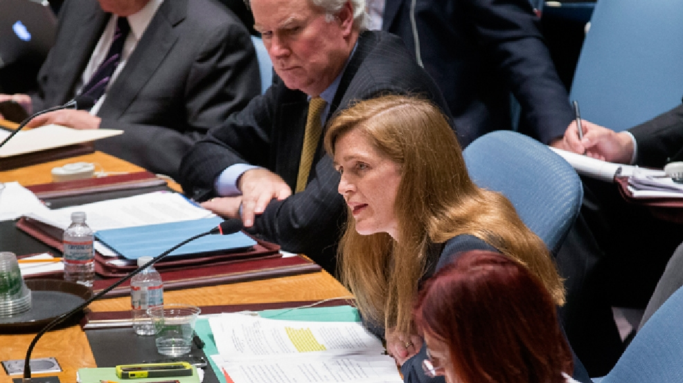 United States U.N. Ambassador Samantha Power speaks during a U.N. Security Council meeting at United Nations headquarters, Friday, July 18, 2014. Britain's U.N. Mission says it requested an emergency meeting after Thursday's downing of a Malaysia Airlines plane carrying 298 people over eastern Ukraine. (AP Photo/John Minchillo)