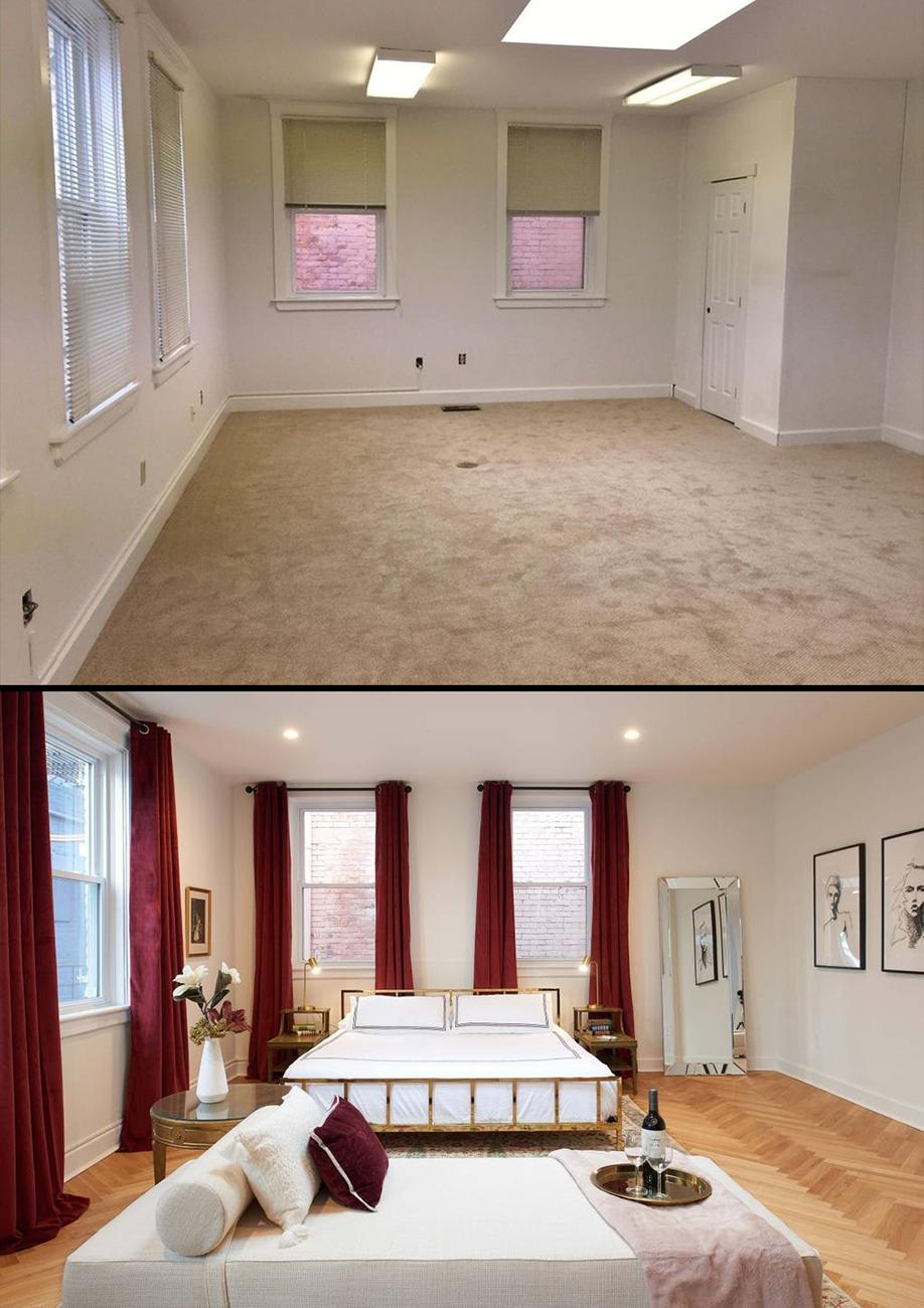 Before the renovation vs. after. / Top image courtesy of the Carriage House, bottom image by Brian Rineair // Published: 10.30.19