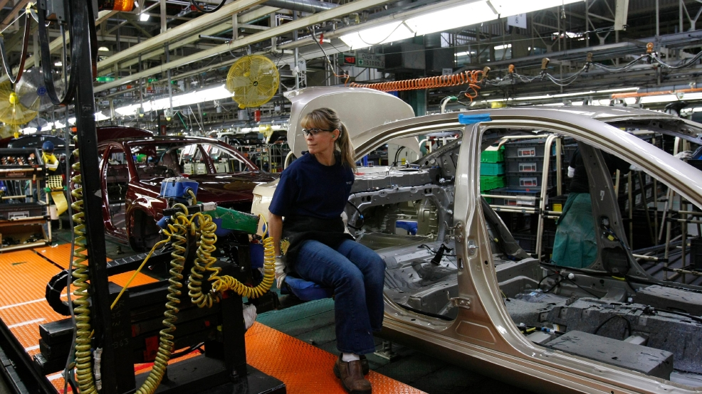 18, 2010, File Photo, Toyota Employee Melissa George Works On The Assembly  Line At Toyota Motor Manufacturing, Kentucky, In Georgetown, Ky.