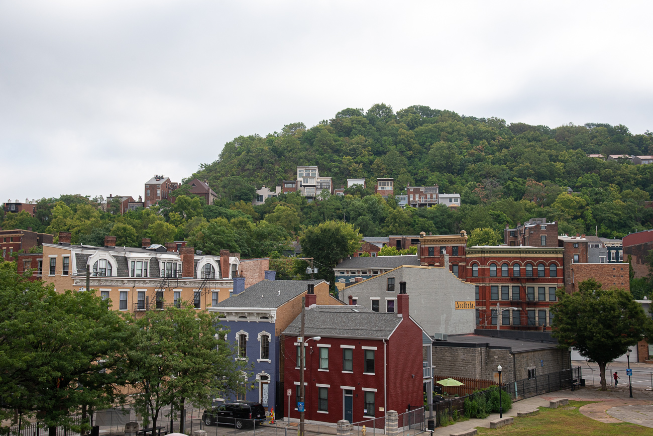 Out of the back conference room, a northerly view of Over-the-Rhine and Mt. Auburn can be seen. / Image: Phil Armstrong, Cincinnati Refined // Published: 9.5.19