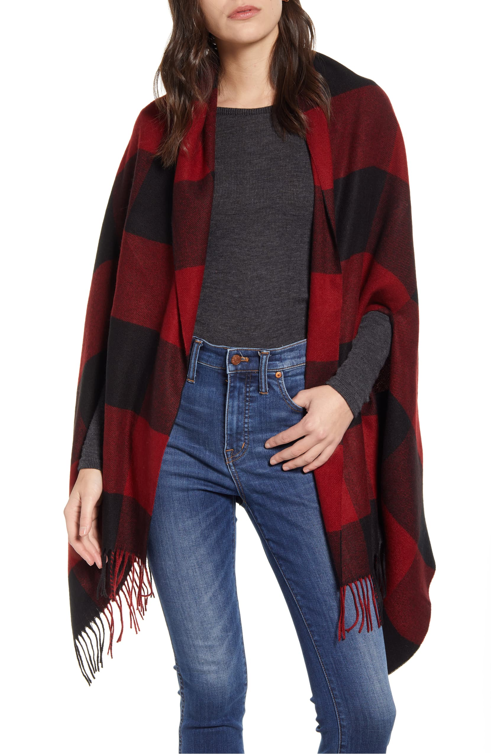 Simply genius—Madewell's designers added convenient armholes to a supersoft scarf so it can be worn around the neck or as a cape. Shop it{ }- $55. (Image: Nordstrom){ }
