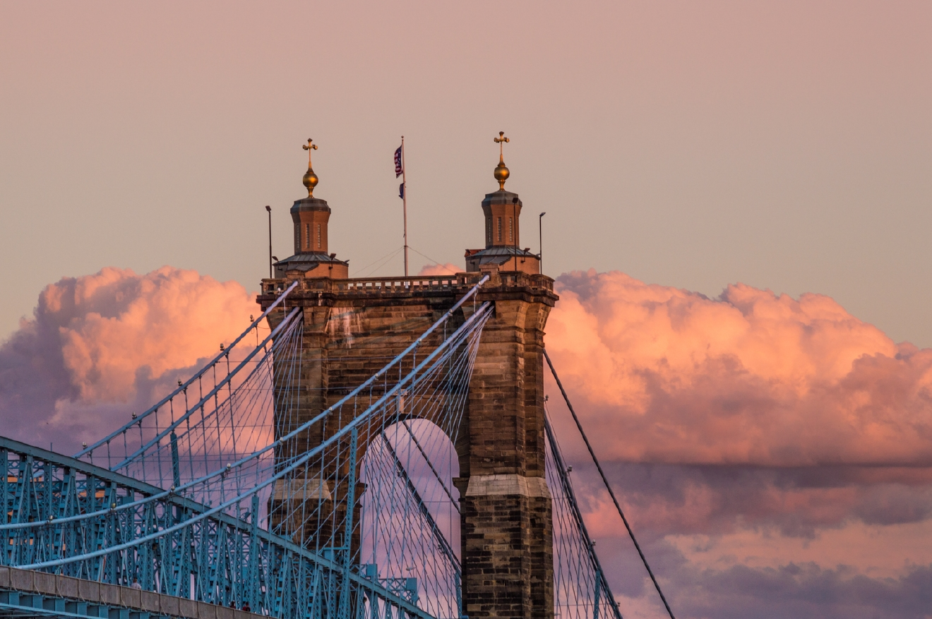 The city meets the sky at the Roebling Bridge / Image: Phil Armstrong, Cincinnati Refined