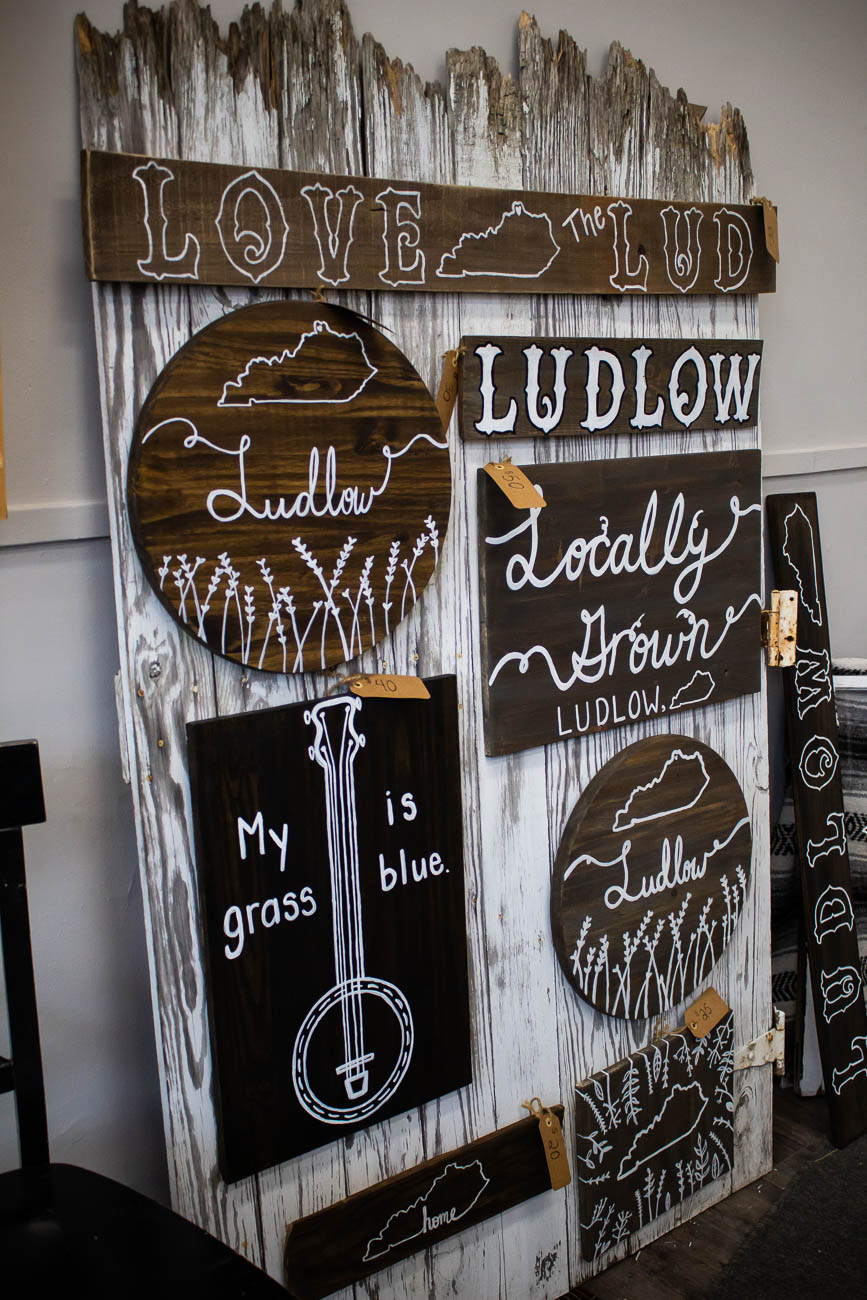 A local craftswoman named Tiffany Grider is one of the vendors who set up shop in My Mother's Daughter when Hazel hosted local businesses. She paints wooden furnishings and takes requests through Facebook. / Image: Katie Robinson, Cincinnati Refined // Published: 3.13.19