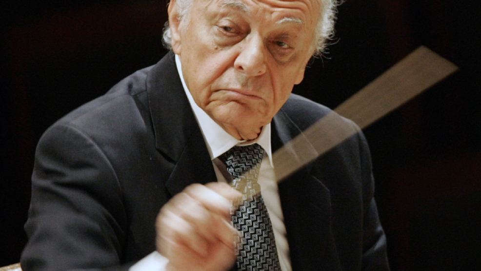 This Feb. 28, 2008 file photo shows Lorin Maazel, music director of the New York Philharmonic during a rehearsal in Seoul, South Korea. Maazel, whose prodigious career included seven years at the helm of the New York Philharmonic, died Sunday, July 13, 2014 from complications following pneumonia at his home in northern Virginia. He was 84. (AP Photo/ Lee Jin-man, File)
