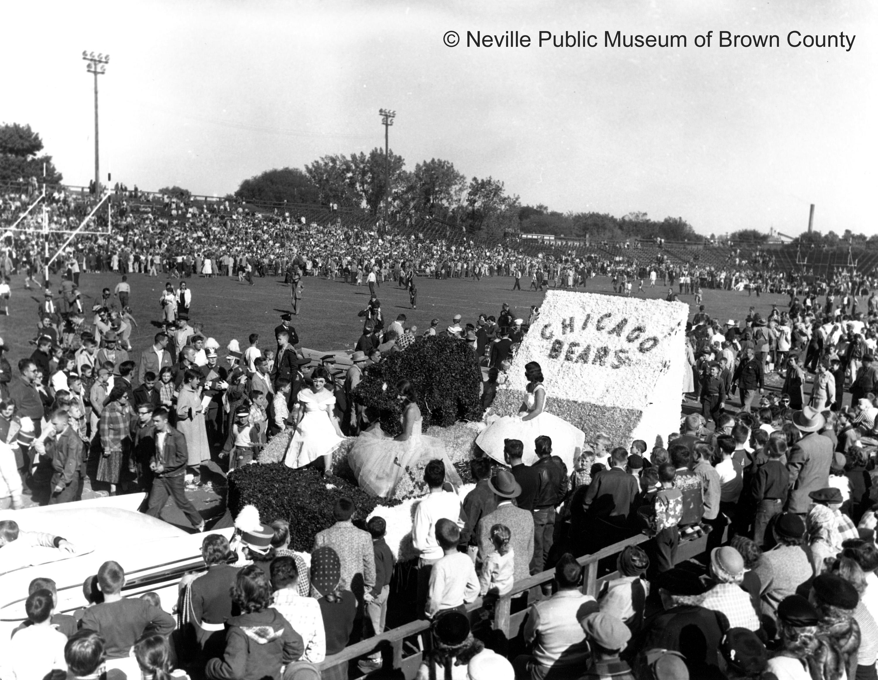 Big crowd at Packers-Bears game at City Stadium. The Packers and the NFL outgrew City Stadium in 1956. The facility could not be expanded with the East River on one side and Green Bay East High School on the other. (Courtesy: Neville Public Museum of Brown County)