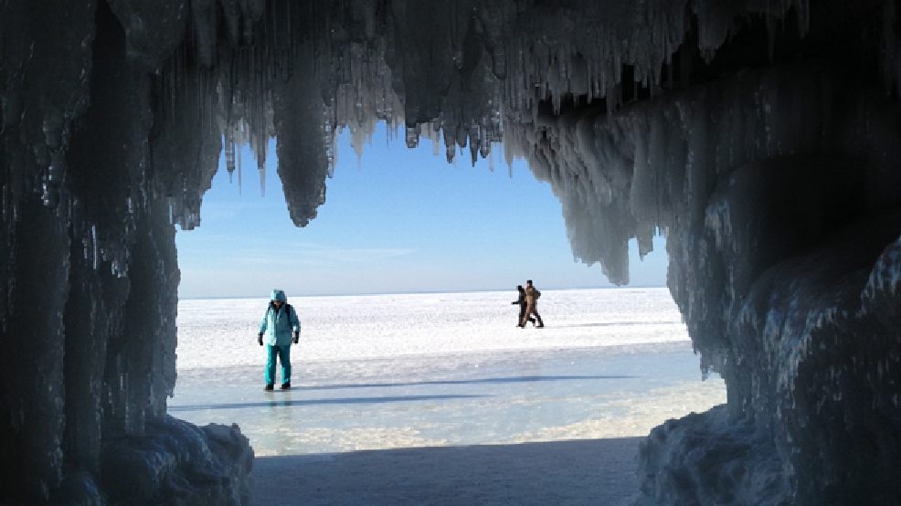 A view from the ice caves at the Apostle Islands National Lakeshore in Bayfield, Feb. 12, 2014. (WLUK/Pauleen Le)
