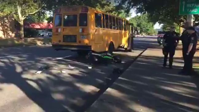 Police: Motorcycle vs. school bus crash closes stretch of road in N. Portland