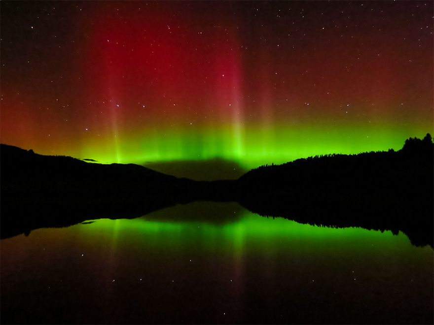 Northern Lights over Keller, Wash. by Rocky Raybell