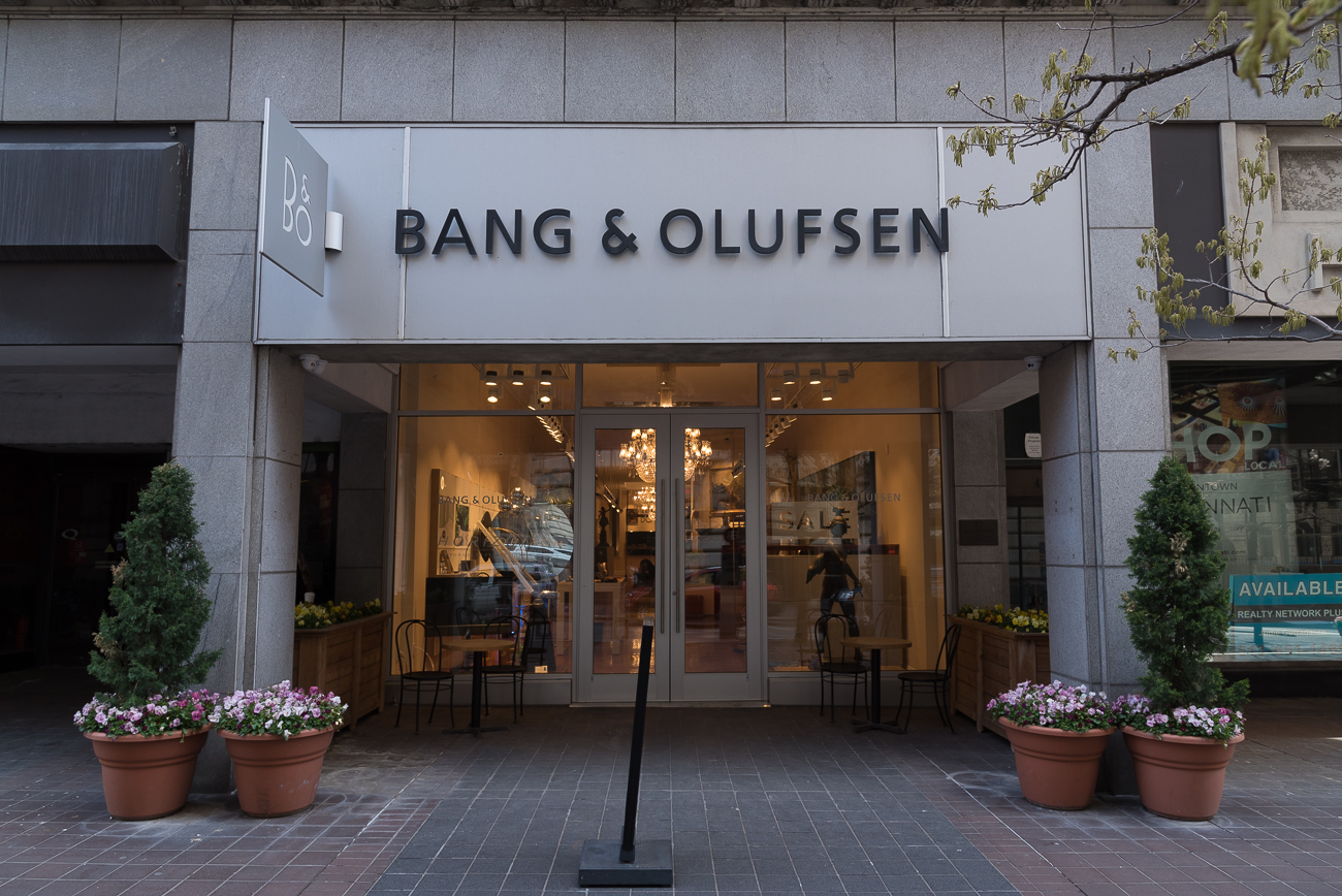 4th Street has a high-end Danish electronics shop: Bang & Olufsen Cincinnati / ADDRESS: 6 W 4th Street / Image: Phil Armstrong, Cincinnati Refined // Published: 4.23.18