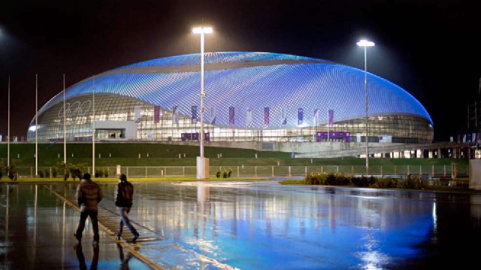 The Bolshoy Ice Dome is lit up at night in the Olympic Park at the 2014 Winter Olympics, Friday, Jan. 31, 2014, in Sochi, Russia. (AP Photo/David Goldman)
