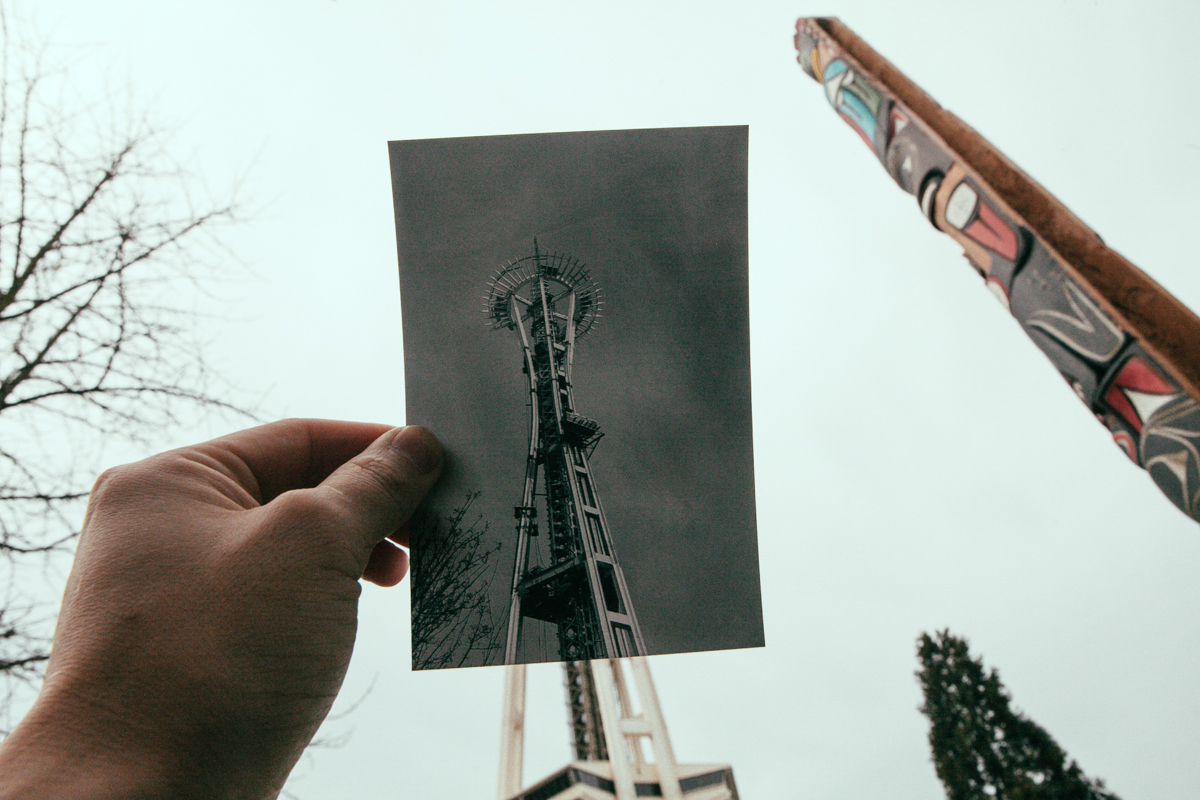 "These photos show some Seattle landmarks, ""then and now."" The original photos were taken from the Seattle Municipal Archives' Photostream on Flickr and vary anywhere from the 1950's to the 1970's. (Joshua Lewis / Seattle Refined)"