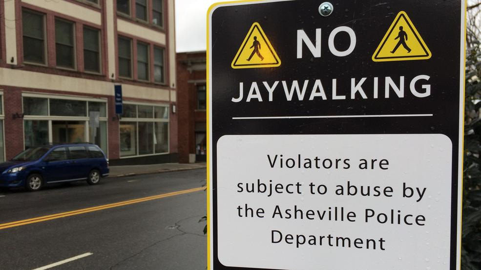 fake no jaywalking signs show up downtown amid apd