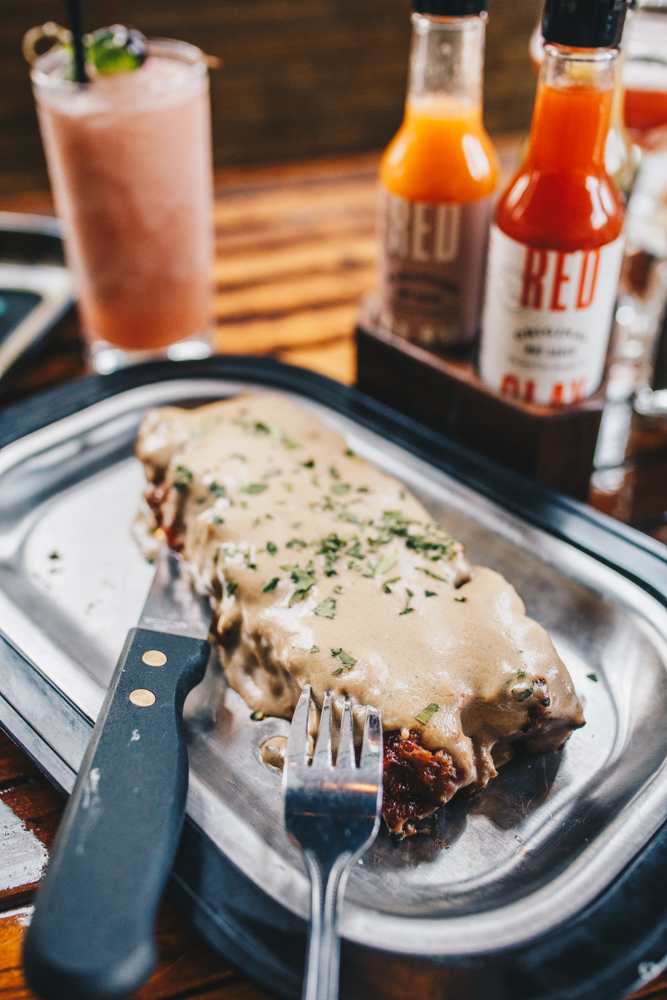 Homemade meatloaf: fresh herbed meatloaf topped with mushroom gravy / Image: Catherine Viox // Published: 3.24.19