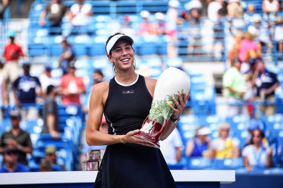 Garbine Muguruza, the 2017 W&S Open women's champion. Muguruza took home her first ever title on American soil by defeating Simona Halep in Sunday's final. / Image: Ben Solomon // Published: 8.21.17