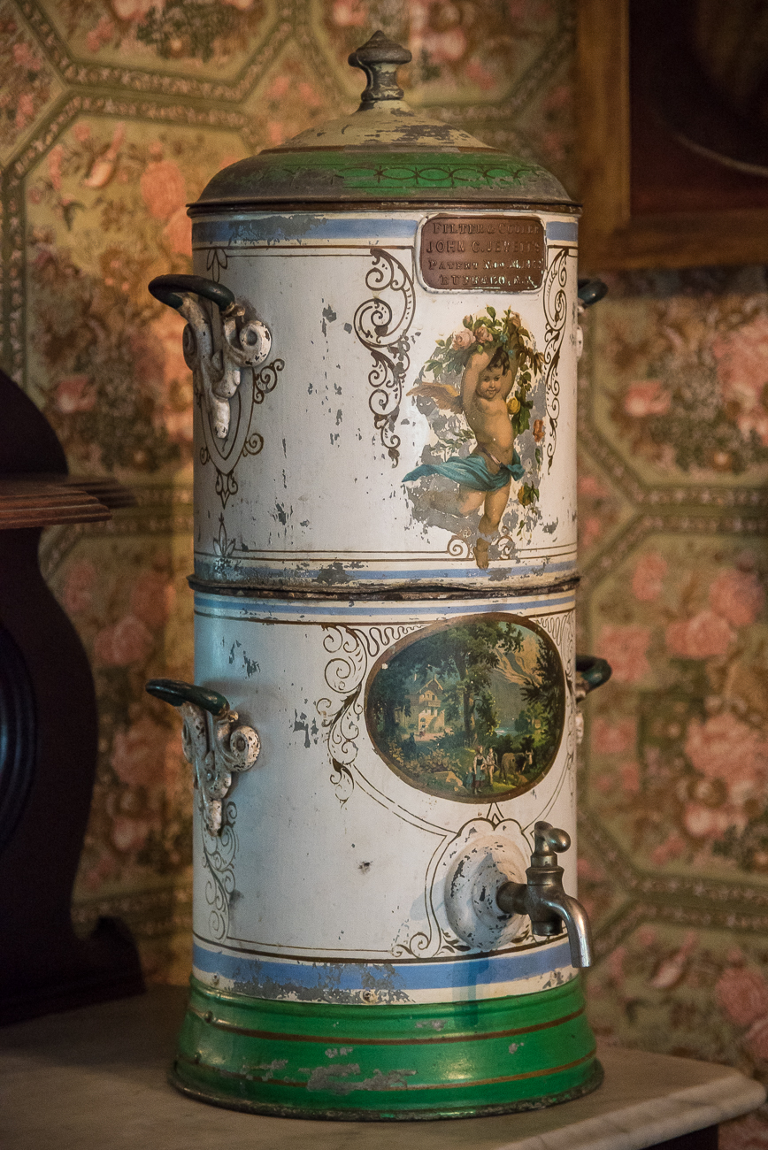 The home is filled with antiques dating back to James Dinsmore's time. This is an early example of a cooler dating back to 1869. / Image: Phil Armstrong, Cincinnati Refined // Published: 6.15.18