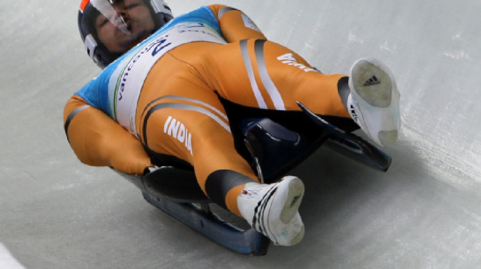 FILE - In this Feb. 13, 2010 file photo, Shiva Keshavan, of India, practices during a men's singles luge training run at the Vancouver 2010 Olympics in Whistler, British Columbia. (AP Photo/Ricardo Mazalan, File)