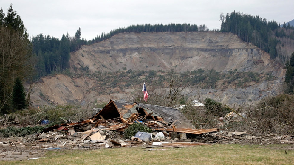 A flag, put up by volunteers helping search the area, stands in the ruins of a home left at the end of a deadly mudslide from the now-barren hillside seen about a mile behind, Tuesday, March 25, 2014, in Oso, Wash. (AP Photo/Elaine Thompson)