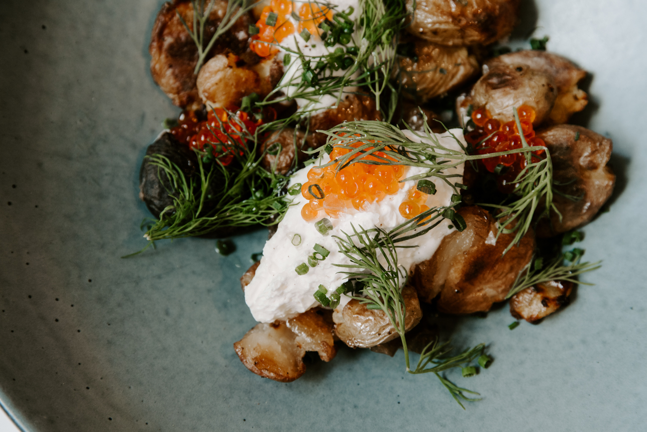 Potato & eggs creme fraiche, trout roe, chives / Image: Brianna Long // Published: 9.7.19