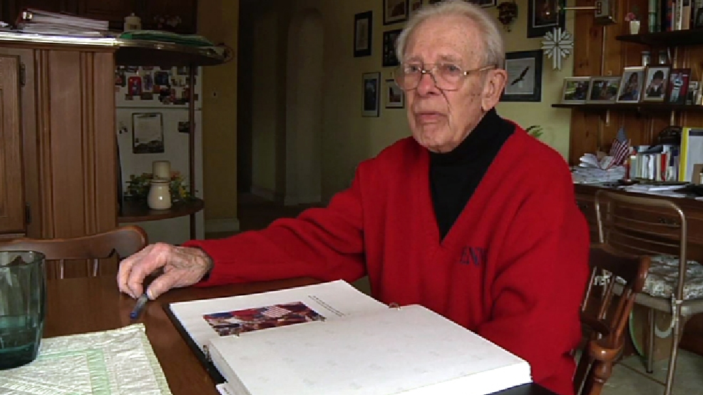 In this March 27, 2014 image made from a video, Leslie Cruise talks about his D-Day experience during an interview with The Associated Press at his home in Horsham, Pa. Cruise said he plans to return to France for the 70th anniversary on June 6. (AP Photo/Kathy Matheson)