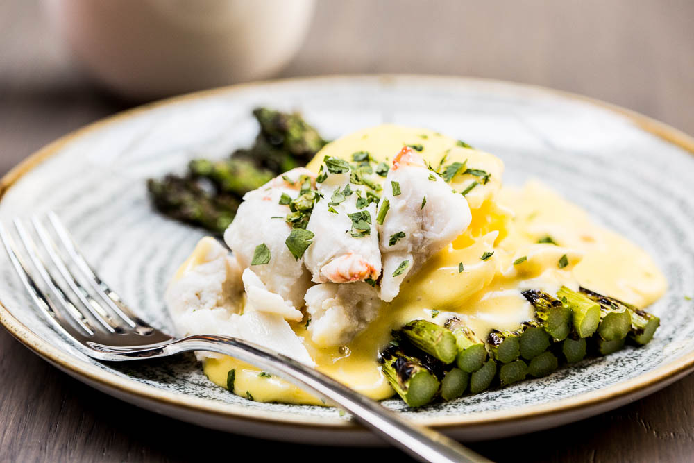 Grilled asparagus: Poached eggs, crab meat, hollandaise (Image: Aubrie Pick)