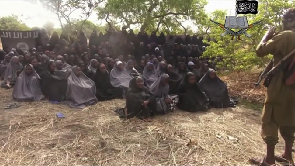 In this photo taken from video by Nigeria's Boko Haram terrorist network, Monday May 12, 2014 shows the alleged missing girls abducted from the northeastern town of Chibok. (AP Photo)