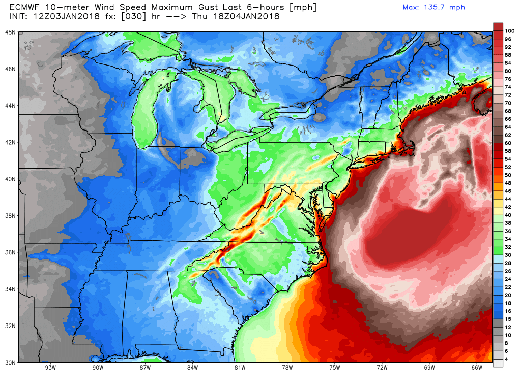 Euro model shows expected wind gusts in mph as major storm passes off the Atlantic Seaboard early Thursday afternoon. (Photo via WeatherBell.com)<p></p>