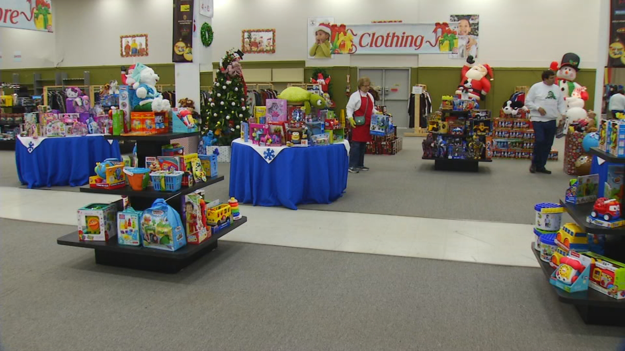 The scene at The Ingles Toy Store on Thursday, Dec. 7, in Asheville. Thanks to an outpouring of generosity from the community, many children in need will have gifts on Christmas morning. (Photo credit: WLOS Staff)