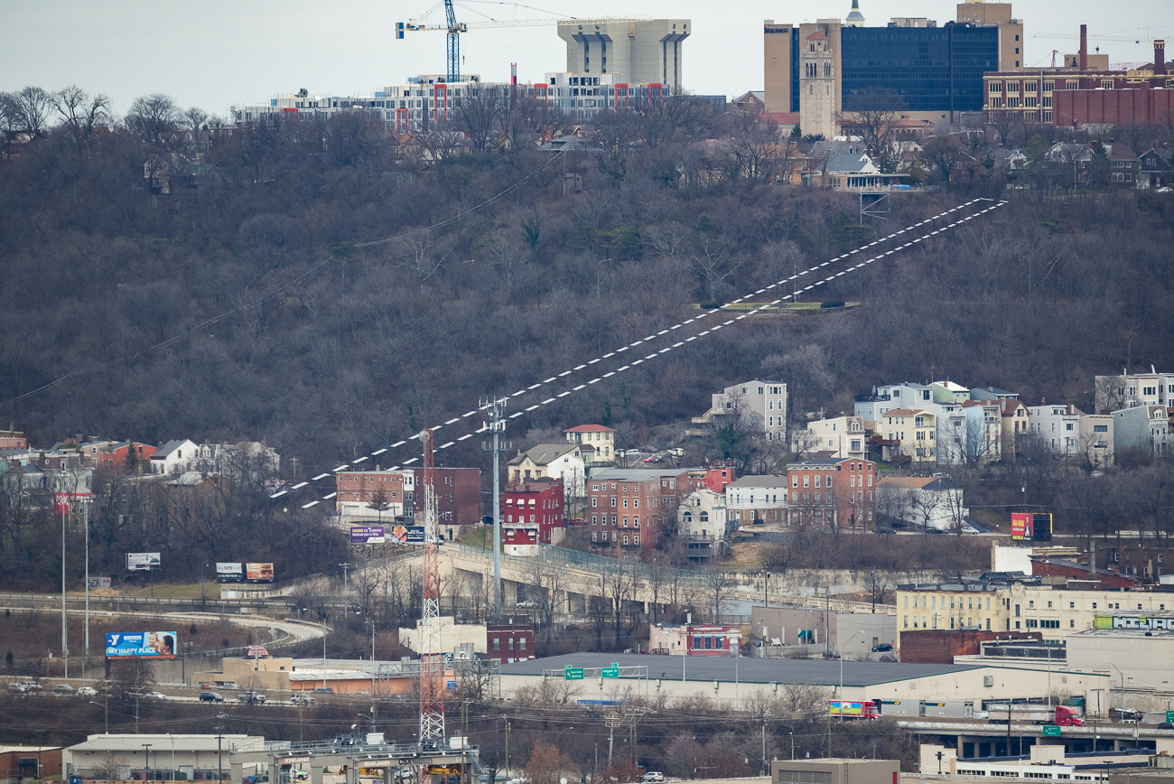 This is an aerial view roughly outlining where the Fairview Incline would've been. / Image: Phil Armstrong, Cincinnati Refined // Published: 1.2.19