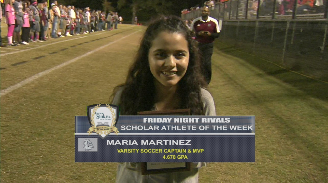 Maria Martinez is named a George Sink Injury Lawyer's Scholar Athlete for Week 10.