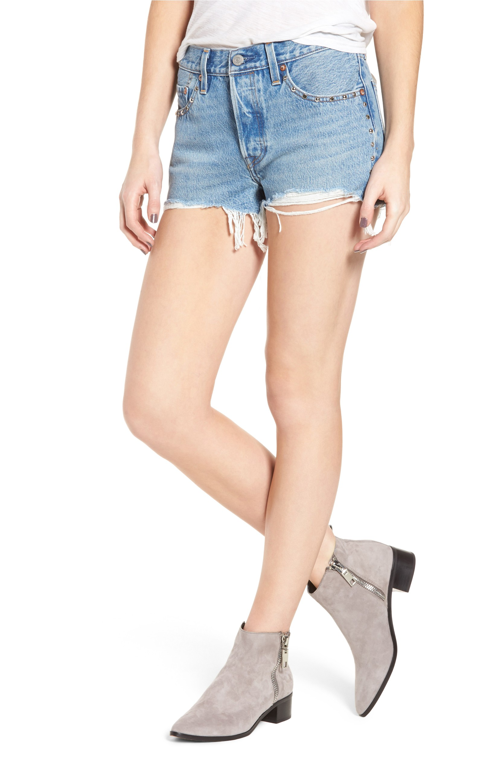 501 Distressed Cutoff Denim Shorts was originally $98.00 and is now $65. Wear your favorite 501 jeans through the entire season with these studded and frayed cutoff shorts based on the iconic straight fit.