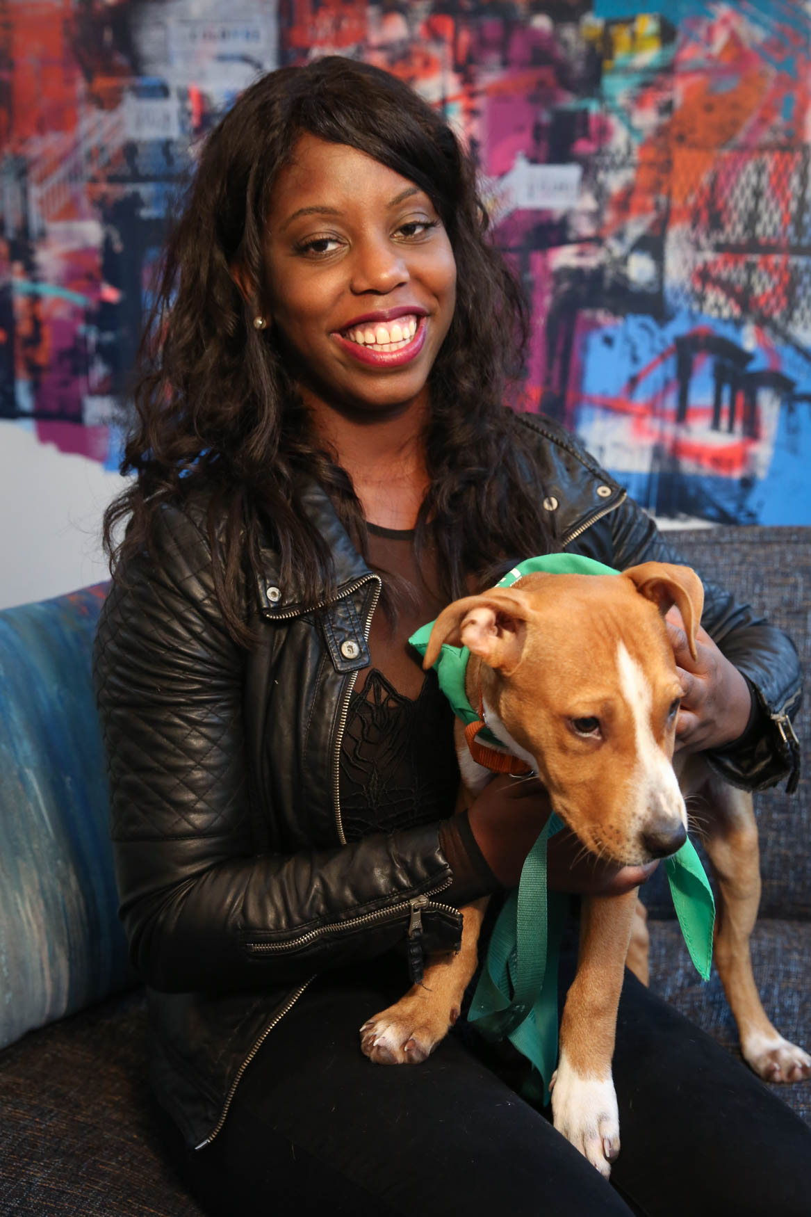 Meet Bali and Danielle, a  3.5-month-old Lab/ Terrier mix and a 28-year-old human respectively. Photo location: Moxy Washington, D.C. Downtown (Image: Amanda Andrade-Rhoades/ DC Refined)