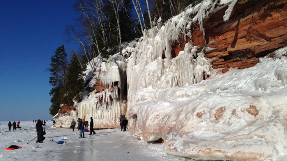 Ice caves are seen at the Apostle Islands National Lakeshore in Bayfield County, Feb. 12, 2014. (WLUK/Pauleen Le)