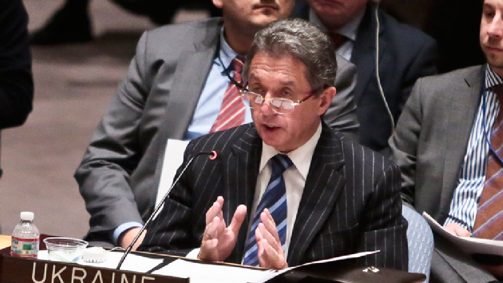U.N. Ukraine Ambassador Yuriy Sergeyev speaks during a U.N. Security Council meeting on Ukraine, Monday, March 3, 2014 at U.N. headquarters. (AP Photo/Bebeto Matthews)