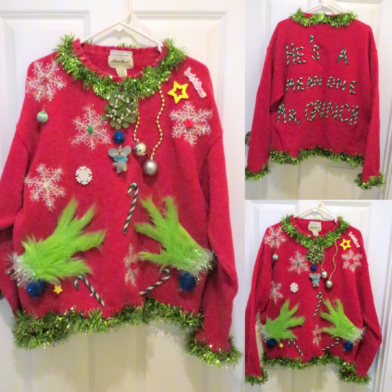 They just might not get any uglier than this sweater - and we mean that in the nicest way. This specific sweater is $68 and is handmade by the folks at Tacky Ugly Christmas Etsy shop. (Image: Facebook.com/Tackyuglychristmassweaters/)