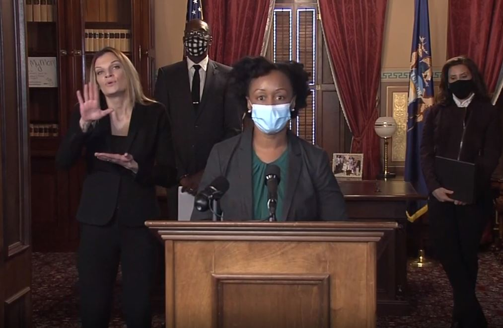 During a Thursday, Dec. 3, 2020, news briefing, Michigan Department of Health and Human Services Chief Medical Executive Dr. Joneigh Khaldun talks about the importance of the COVID-19 vaccines, and that Michiganders still need to follow virus safety protocols. (WWMT)
