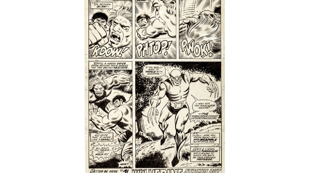 "This image released by Heritage Auctions shows original artwork that was used in the Marvel Comics' ""The Incredible Hulk"" issue #150. The artwork, which shows the first appearance of Wolverine, will be auctioned in May in a sale that will benefit the Hero Initiative, the group that strives to aid comic book creators in times of financial need. Heritage Auctions says the artwork drawn by Herb Trimpe 40 years ago was long thought lost. Wolverine has become one of comics' enduring and best-known characters, appearing in several solo series and as a member of the X-Men and Avengers, too. (AP Photo/Heritage Auctions)"